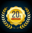 20 years anniversary gold and red badge logo vector image