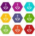 anchor icon set color hexahedron vector image