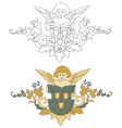 Angel with shield old decoration vector image vector image