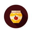 Apple jam jar flat icon with long shadow vector image vector image