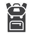 backpack solid icon education and school vector image vector image