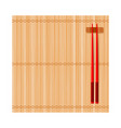 bamboo mat and chinese chopsticks top view vector image