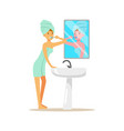 beautiful woman character with towel on her head vector image vector image