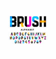 Brush stroke font alphabet letters and numbers
