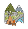 Camping tent with mountains and campfire