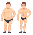 cartoon muscular and fat man guy before and after vector image vector image
