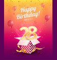 celebrating 28 th years birthday vector image vector image