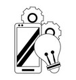 cellphone with light bulb and gears in black and vector image vector image