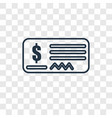 cheque concept linear icon isolated on vector image vector image