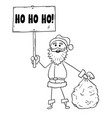 christmas santa claus with bag of gifts and ho ho vector image