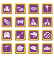 coal mine icons set purple square vector image vector image