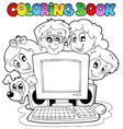 coloring book computer and kids vector image vector image