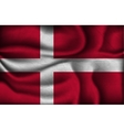 crumpled flag of Denmark on a light background vector image vector image