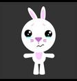 cute rabbit cartoon sad character gray vector image