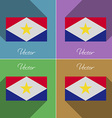 Flags Saba Set of colors flat design and long vector image vector image