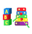 flat xylophone and cubics toys isolated vector image