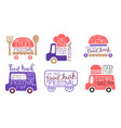 food truck festival labels set street food vector image vector image