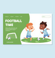 football landing page template sport team kids vector image vector image