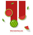 fresh watermelon fruit background paper art style vector image vector image