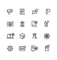 gdpr line icons privacy policy digital business vector image