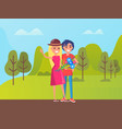 girl and boy walking in park lovely day vector image vector image