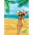 Girl on a tropical beach vector image