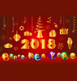 greeting card for happy new yeargold glossy ball vector image vector image