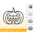 halloween pumpkin jack o lantern simple line icon vector image vector image