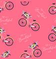 hand drawing print design bicycle and slogan vector image