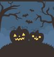 happy halloween pumpkins flying bats tree night vector image