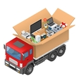 Isometric red cargo truck with cardboard box vector image
