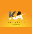 ka k a letter modern logo design with yellow vector image vector image
