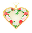 label golden heart with a crown pink and vector image vector image