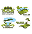 landscape design company icon of green tree nature vector image