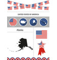 map of alaska set of flat design icons vector image vector image