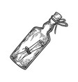 message in bottle engraving vector image vector image