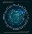 military blue radar screen with target vector image vector image