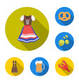 october festival in munich flat icons in set vector image