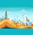 oil extraction landscape vector image vector image