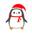 penguin bird on snowdrift red santa claus hat vector image vector image