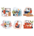 people working from home freelancers at work vector image