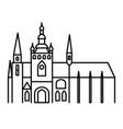 prague castle simple linear black outline icon vector image
