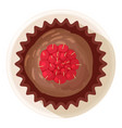 raspberry muffin icon cartoon style vector image vector image