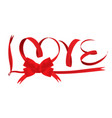 red ribbon love wording vector image