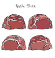 row pork steak slices set realistic vector image