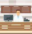 salesman is standing near the cash register vector image