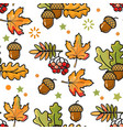 seamless pattern with acorns leaves and berries vector image