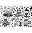 seamless pattern with vikings in monochrome style vector image vector image