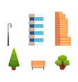 set of flat style city town elements vector image vector image