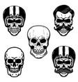 set of skulls on white background cranium in vector image